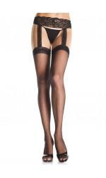 Lace Garter Belt Suspender Queen Size Stockings  - Pack of 3