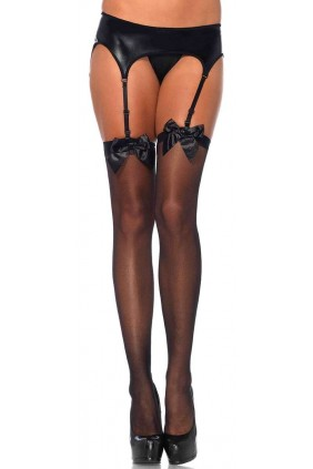 Satin Bow Sheer Thigh High Garter Stockings Sensual Elegance Fashion, Lingerie and Shoes Women's Sexy Clothing & Lingerie - Clubwear, Plus Size Clothing & Accessories