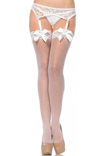 Satin Bow Lace Top Thigh High Garter Stockings at Sensual Elegance, Women's Very Sexy Lingerie & Clothing - Clubwear, Bridal Lingerie & Plus Size Lingerie