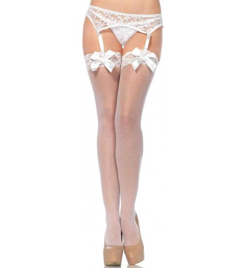 Satin Bow Lace Top Thigh High Garter Stockings at Sensual Elegance, Sexy Womens Lingerie & Clothing for All Sizes - Clubwear, Bridal & Plus Size Lingerie