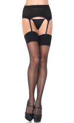 Black Spandex Stockings and Garter Belt Set