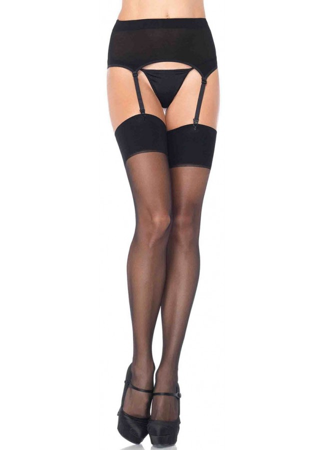 Black Spandex Stockings and Garter Belt Set at Sensual Elegance Fashion