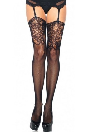 Black Fishnet Stockings with Lace Jacquard Top Sensual Elegance Fashion, Lingerie and Shoes Women's Sexy Clothing & Lingerie - Clubwear, Plus Size Clothing & Accessories