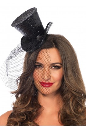 Mini Glitter Top Hat with Veil Sensual Elegance Fashion, Lingerie and Shoes Women's Sexy Clothing & Lingerie - Clubwear, Plus Size Clothing & Accessories