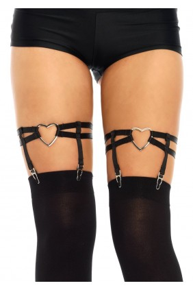 Black Heart Leg Garters Sensual Elegance Fashion, Lingerie and Shoes Women's Very Sexy Lingerie & Clothing - Clubwear, Bridal Lingerie & Plus Size Lingerie