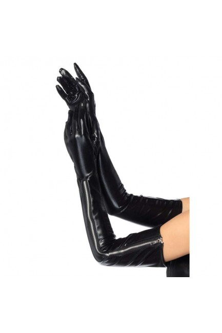 Black Wet Look Lycra Zipper Opera Gloves at Sensual Elegance Fashion, Lingerie and Shoes, Women's Very Sexy Lingerie & Clothing - Clubwear, Bridal Lingerie & Plus Size Lingerie