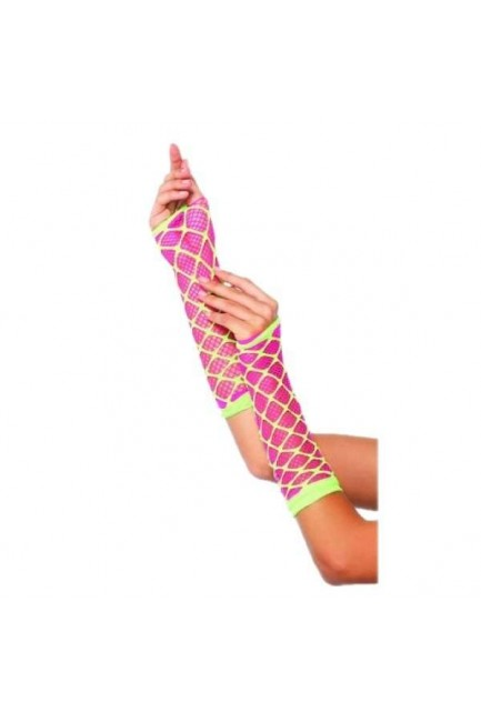 Dual Neon Net Pink and Lime Green Arm Warmers at Sensual Elegance Fashion, Lingerie and Shoes, Women's Sexy Clothing & Lingerie - Clubwear, Plus Size Clothing & Accessories