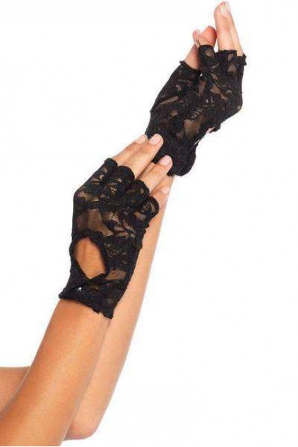 Black Lace Keyhole Back Fingerless Gloves at Sensual Elegance Fashion, Lingerie and Shoes, Women's Very Sexy Lingerie & Clothing - Clubwear, Bridal Lingerie & Plus Size Lingerie