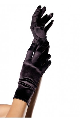 Black Wrist Length Satin Gloves Sensual Elegance Fashion, Lingerie and Shoes Women's Sexy Clothing & Lingerie - Clubwear, Plus Size Clothing & Accessories