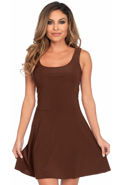 Basic Brown Womens Skater Dress at Sensual Elegance Fashion, Lingerie and Shoes, Women's Sexy Clothing & Lingerie - Clubwear, Plus Size Clothing & Accessories