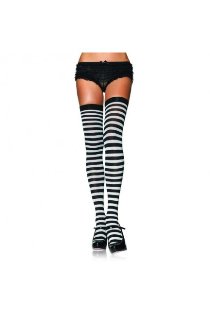 Black White Striped Plus Size Stockings 3 Pack