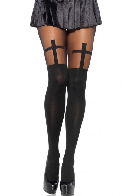 Vampire Hunter Cross Opaque Tights at Sensual Elegance Fashion, Lingerie and Shoes, Women's Sexy Clothing & Lingerie - Clubwear, Plus Size Clothing & Accessories
