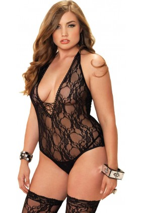 Floral Lace Plus Size Teddy and Stocking Set
