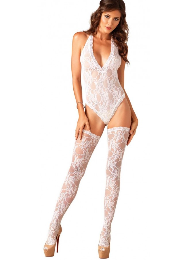 534132e1a8b White Lace Deep V Teddy with Stockings at Sensual Elegance Fashion