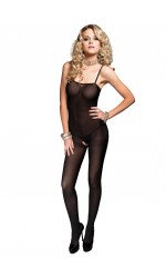 Opaque Spaghetti Strap Bodystocking