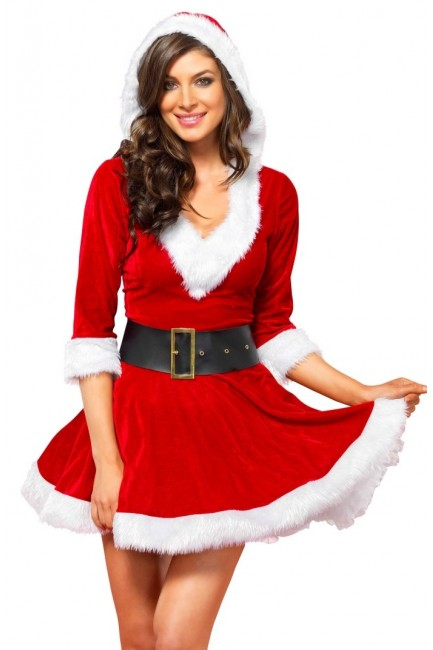 Mrs Claus Velvet Hooded Christmas Dress at Sensual Elegance Fashion, Lingerie and Shoes, Women's Sexy Clothing & Lingerie - Clubwear, Plus Size Clothing & Accessories