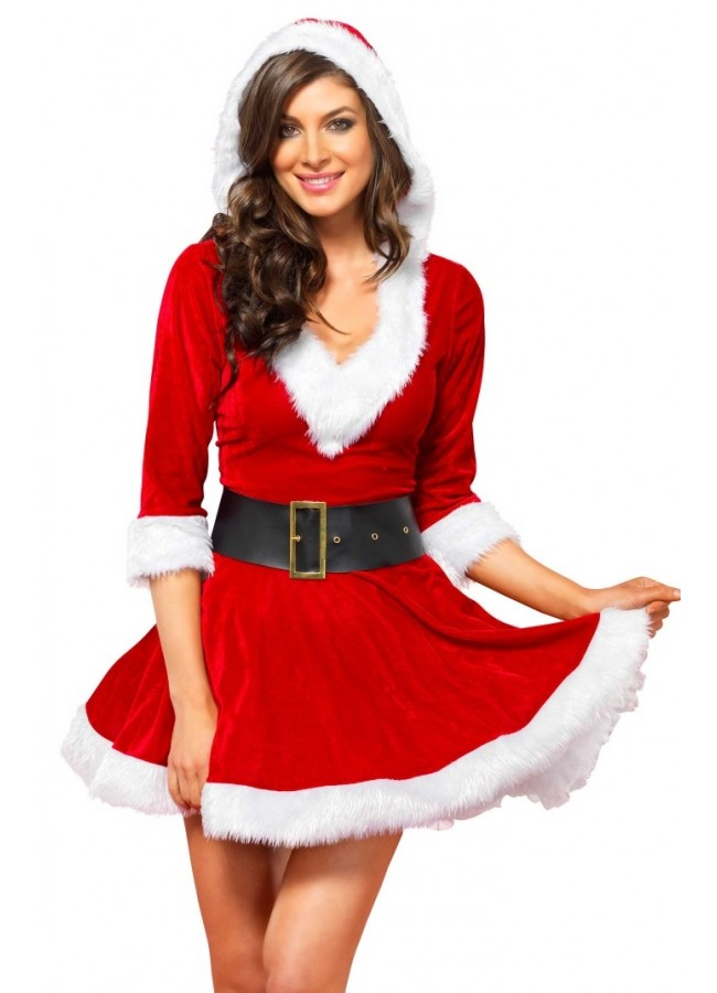 Mrs Claus Velvet Hooded Christmas Dress - Small/Medium