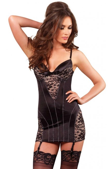 Vintage Lace Panel Underwire Gartered Dress at Sensual Elegance Fashion, Lingerie and Shoes, Women's Sexy Clothing & Lingerie - Clubwear, Plus Size Clothing & Accessories