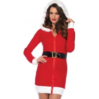 Cozy Mrs Santa Red Fleece Holiday Dress