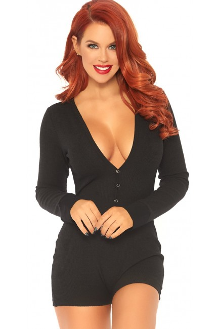 Cozy Black Romper Long Johns at Sensual Elegance Fashion, Lingerie and Shoes, Women's Very Sexy Lingerie & Clothing - Clubwear, Bridal Lingerie & Plus Size Lingerie