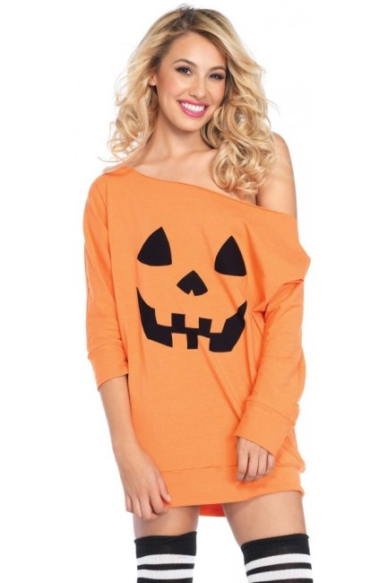 Pumpkin Jersey Off the Shoulder Tunic Dress at Sensual Elegance Fashion, Lingerie and Shoes, Women's Very Sexy Lingerie & Clothing - Clubwear, Bridal Lingerie & Plus Size Lingerie