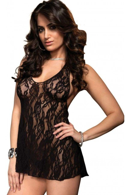 Black Rose Lace Chemise at Sensual Elegance Fashion, Lingerie and Shoes, Women's Sexy Clothing & Lingerie - Clubwear, Plus Size Clothing & Accessories