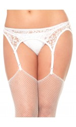 White Lace Garterbelt and Thong Set
