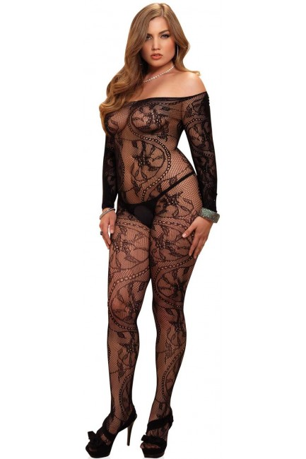Spiral Lace Plus Size Bodystocking at Sensual Elegance Fashion, Lingerie and Shoes, Women's Sexy Clothing & Lingerie - Clubwear, Plus Size Clothing & Accessories