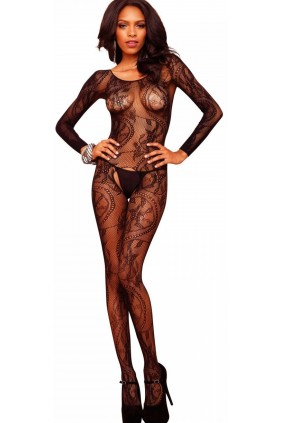 Black Swirl Lace Bodystocking Sensual Elegance Fashion, Lingerie and Shoes Women's Sexy Clothing & Lingerie - Clubwear, Plus Size Clothing & Accessories