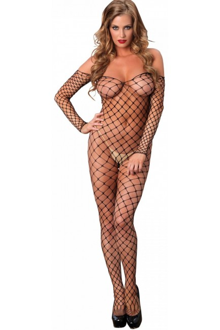 Fence Net Off the Shoulder Bodystocking at Sensual Elegance Fashion, Lingerie and Shoes, Women's Sexy Clothing & Lingerie - Clubwear, Plus Size Clothing & Accessories