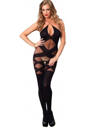 Illusion Halter Opaque Black Bodystocking Sensual Elegance Fashion, Lingerie and Shoes Women's Sexy Clothing & Lingerie - Clubwear, Plus Size Clothing & Accessories