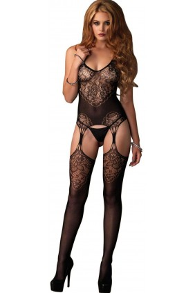 Jacquard Lace Black Suspender Bodystocking Sensual Elegance Fashion, Lingerie and Shoes Women's Sexy Clothing & Lingerie - Clubwear, Plus Size Clothing & Accessories