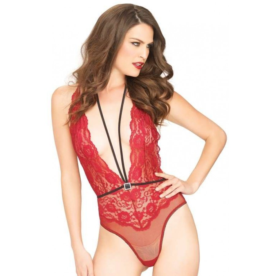 Plunging Front Red Teddy with Halter Harness   Lingerie Discreet ...