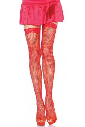 Fishnet Garter Stockings with Lace Top - Red Sensual Elegance Fashion, Lingerie and Shoes Women's Sexy Clothing & Lingerie - Clubwear, Plus Size Clothing & Accessories