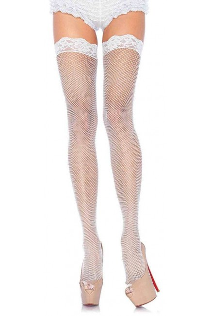 Fishnet Garter Stockings with Lace Top - White at Sensual Elegance Fashion, Lingerie and Shoes, Women's Sexy Clothing & Lingerie - Clubwear, Plus Size Clothing & Accessories