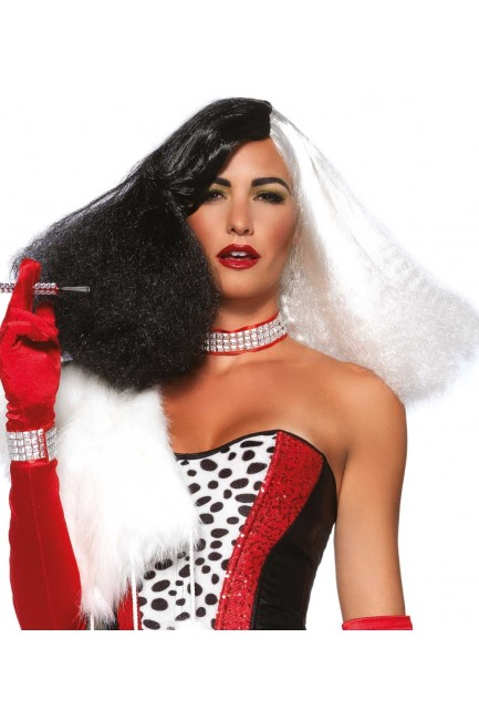 Black and White Cruella Costume Wig at Sensual Elegance Fashion, Lingerie and Shoes, Women's Sexy Clothing & Lingerie - Clubwear, Plus Size Clothing & Accessories