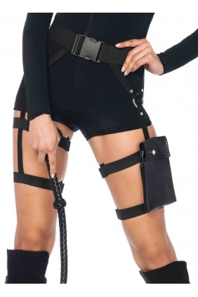 Strappy Black Utility Belt with Leg Garter Sensual Elegance Fashion, Lingerie and Shoes Women's Sexy Clothing & Lingerie - Clubwear, Plus Size Clothing & Accessories