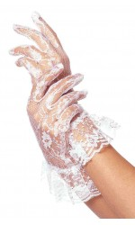 White Ruffled Lace Wrist Length Gloves