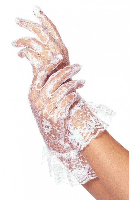 White Ruffled Lace Wrist Length Gloves at Sensual Elegance Fashion, Lingerie and Shoes, Women's Sexy Clothing & Lingerie - Clubwear, Plus Size Clothing & Accessories