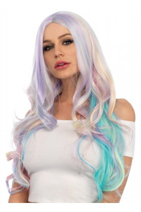 Pastel Rainbow Long Wavy Wig Sensual Elegance Fashion, Lingerie and Shoes Women's Very Sexy Lingerie & Clothing - Clubwear, Bridal Lingerie & Plus Size Lingerie