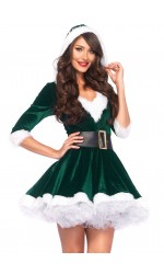 Mrs Claus Green Velvet Hooded Christmas Dress