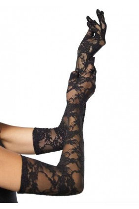 Elegant Black Lace Opera Gloves