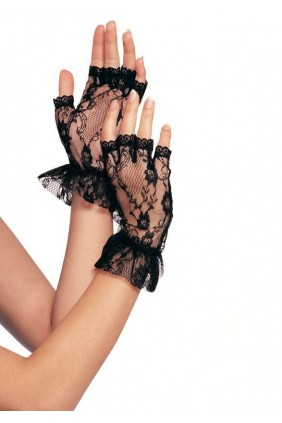 Ruffled Lace Wrist Length Fingerless Gloves Sensual Elegance Fashion, Lingerie and Shoes Women's Very Sexy Lingerie & Clothing - Clubwear, Bridal Lingerie & Plus Size Lingerie