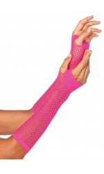 Neon Pink Triangle Net Fingerless Gloves