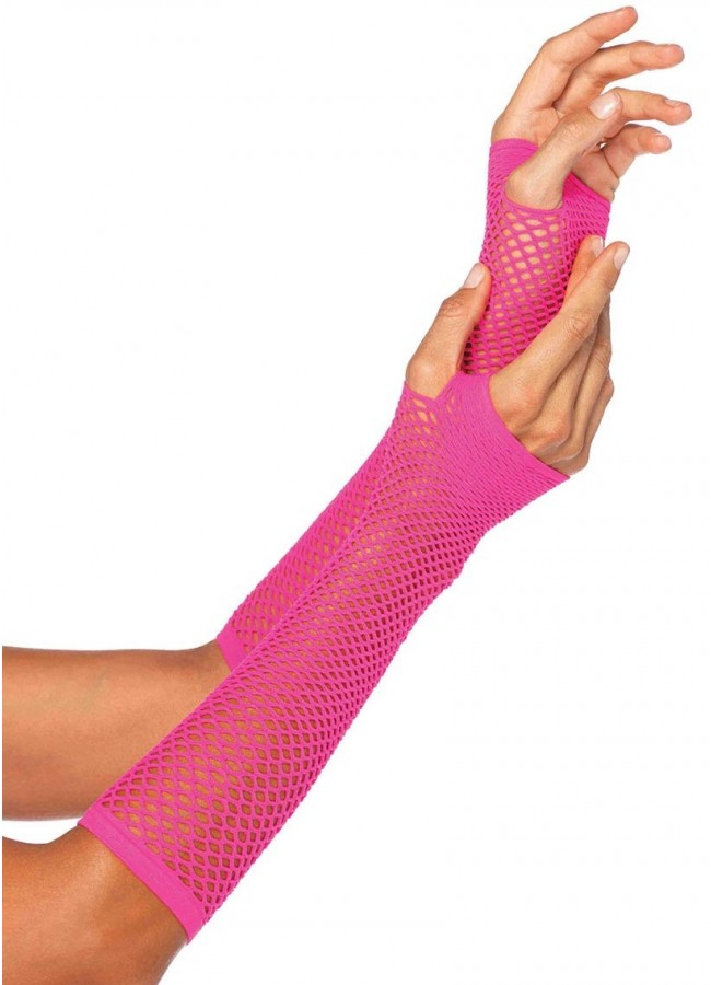 Triangle Net Fingerless Gloves Come in Neon Pink