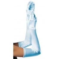 Light Blue Satin Extra Long Opera Gloves