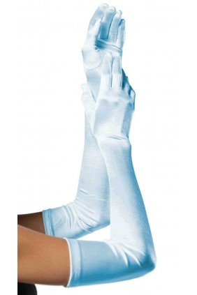 Light Blue Satin Extra Long Opera Gloves
