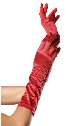 Red Satin Elbow Length Gloves