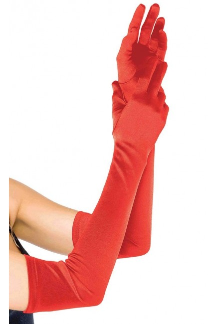 Red Satin Extra Long Opera Gloves at Sensual Elegance Fashion, Lingerie and Shoes, Women's Very Sexy Lingerie & Clothing - Clubwear, Bridal Lingerie & Plus Size Lingerie