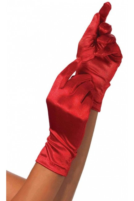 Red Wrist Length Satin Gloves at Sensual Elegance Fashion, Lingerie and Shoes, Women's Sexy Clothing & Lingerie - Clubwear, Plus Size Clothing & Accessories